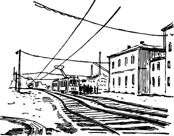 Railroad, : Electric Train Railroad Coloring Page