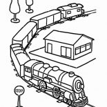 Railroad, Electric Train Set Toy And On Railroad Coloring Page: Electric Train Set Toy and on Railroad Coloring Page