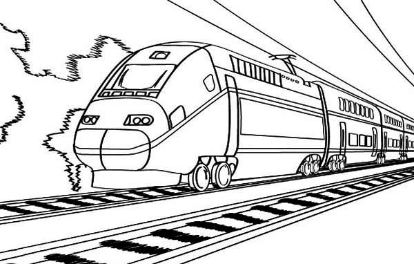 Railroad, : Electric Train on Railroad Coloring Page