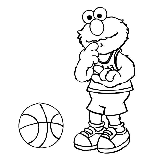 Sesame Street, : Elmo Playing Basketball in Sesame Street Coloring Page
