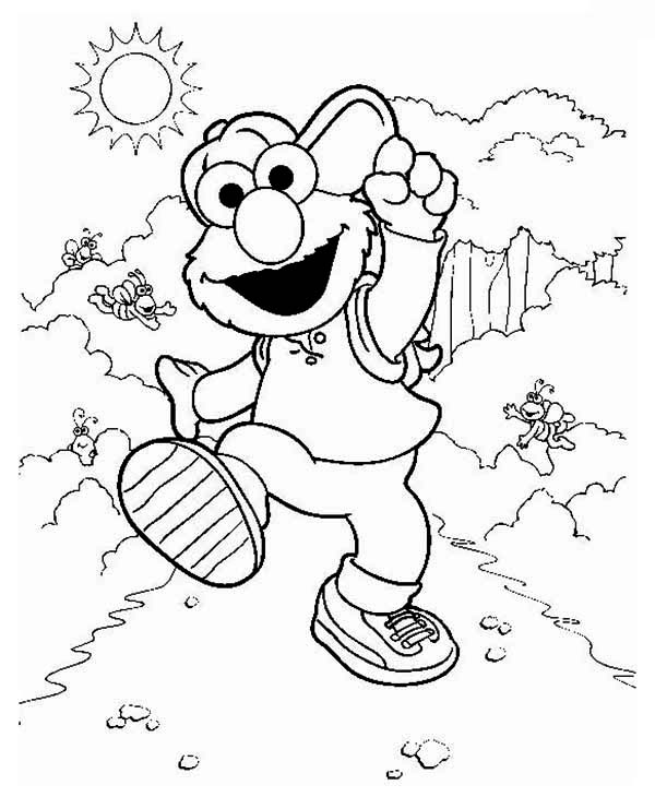 Sesame Street, : Elmo Take a Vacation in in Sesame Street Coloring Page