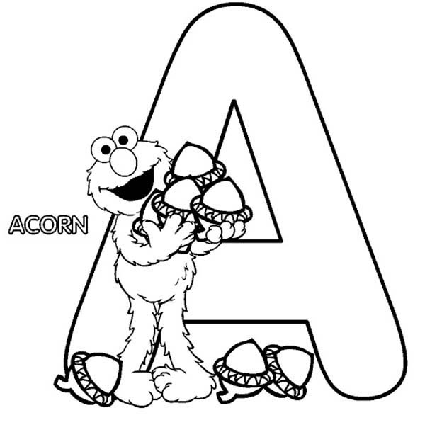 Sesame Street, : Elmo with Acorn in Sesame Street Coloring Page
