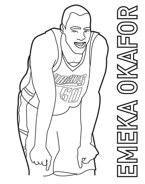 NBA, : Emeka Okafor is NBA Player Coloring Page