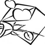 Hearts & Roses, Envelope Full Of Hearts And Roses Coloring Page: Envelope Full of Hearts and Roses Coloring Page