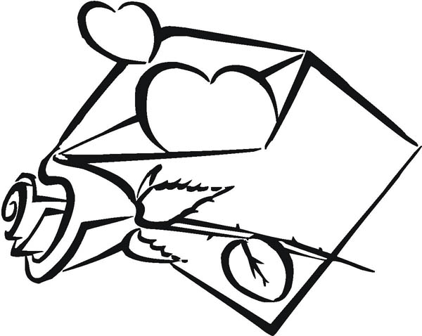 Hearts & Roses, : Envelope Full of Hearts and Roses Coloring Page