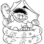 Sesame Street, Ernie Bathing In Plastic Pool In Sesame Street Coloring Page: Ernie Bathing in Plastic Pool in Sesame Street Coloring Page