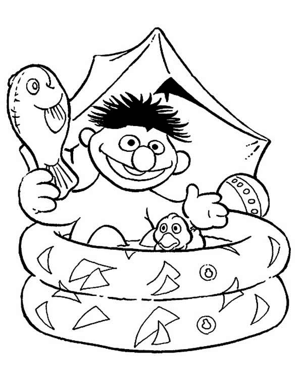 Sesame Street, : Ernie Bathing in Plastic Pool in Sesame Street Coloring Page