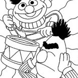 Sesame Street, Ernie Playing Drum In Sesame Street Coloring Page: Ernie Playing Drum in Sesame Street Coloring Page