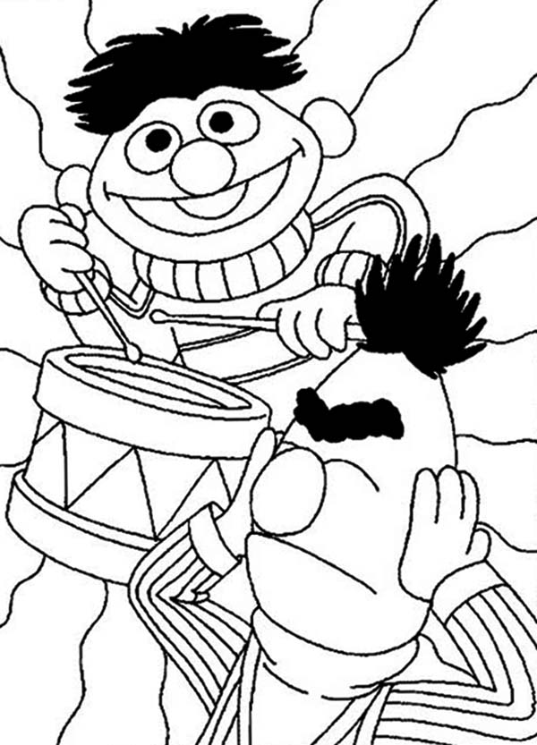 ernie playing drum in sesame street coloring page color luna