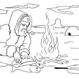 Eskimo, Eskimo Cooking Fish Coloring Page: Eskimo Cooking Fish Coloring Page