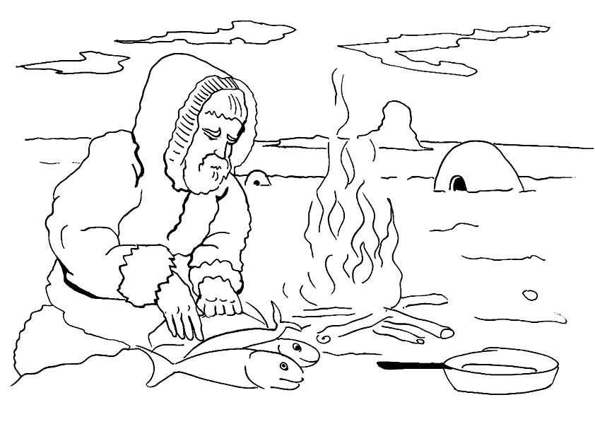 Eskimo, : Eskimo Cooking Fish Coloring Page