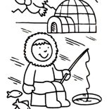 Eskimo, Eskimo Fishing Hole Coloring Page: Eskimo Fishing Hole Coloring Page