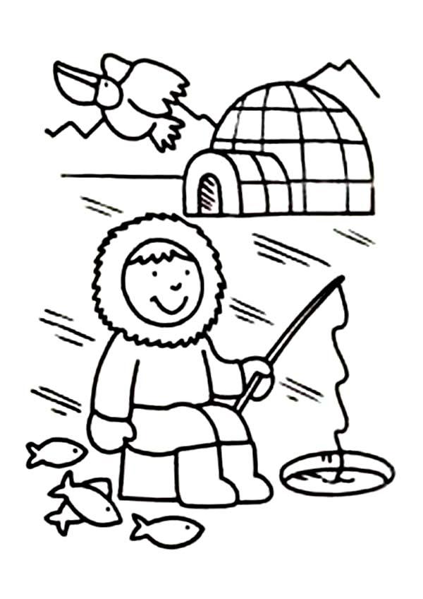 Eskimo, : Eskimo Fishing Hole Coloring Page