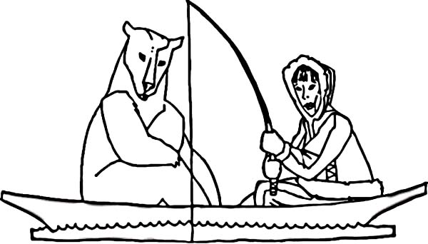 Eskimo, : Eskimo Fishing on a Boat with Polar Bear Coloring Page