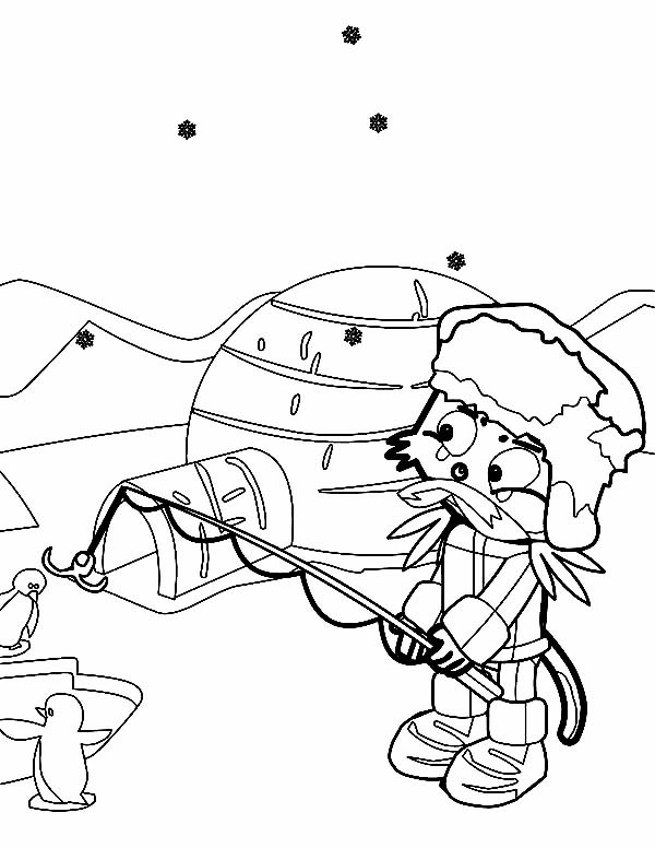 Eskimo, : Eskimo Fishing with Penguin Coloring Page