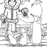 Eskimo, Eskimo Girl Feeding Pinguin With Fish Coloring Page: Eskimo Girl Feeding Pinguin with Fish Coloring Page