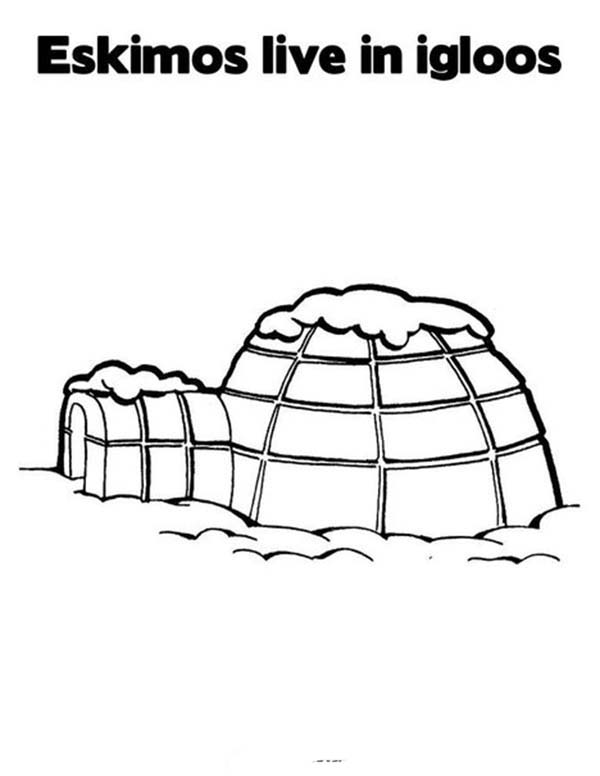 Eskimo, : Eskimo Live in Igloo Coloring Page