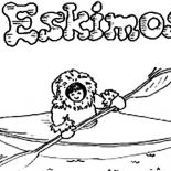 Eskimo, Eskimo Ride Kayak Coloring Page: Eskimo Ride Kayak Coloring Page