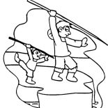 Eskimo, Eskimo Teach His Son Hunting Coloring Page: Eskimo Teach His Son Hunting Coloring Page