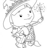 Mike the Knight, Evie Playing Firework In Mike The Knight Coloring Page: Evie Playing Firework in Mike the Knight Coloring Page