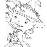 Mike the Knight, Evie With Frog On Her Pointy Hat In Mike The Knight Coloring Page: Evie with Frog on Her Pointy Hat in Mike the Knight Coloring Page