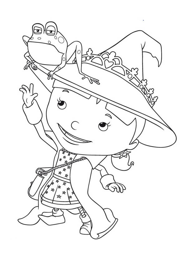Mike the Knight, : Evie with Frog on Her Pointy Hat in Mike the Knight Coloring Page
