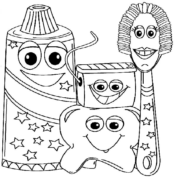 Dental Health, : Example Picture of Dental Health Coloring Page