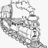 Railroad, Exhausted Train On Railroad Coloring Page: Exhausted Train on Railroad Coloring Page