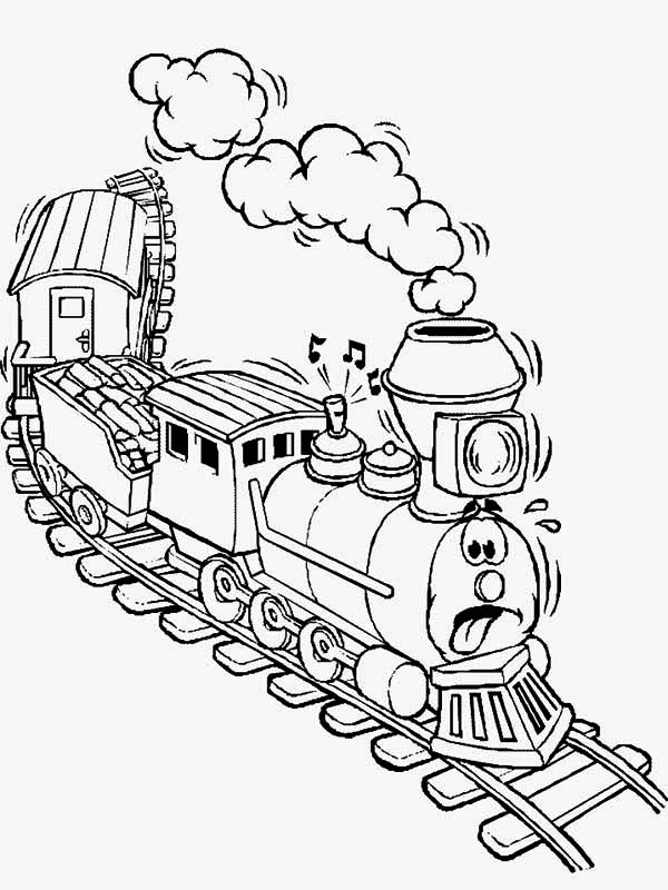 Railroad, : Exhausted Train on Railroad Coloring Page