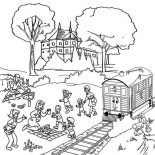Railroad, Family Vacation Beside Railroad Coloring Page: Family Vacation Beside Railroad Coloring Page