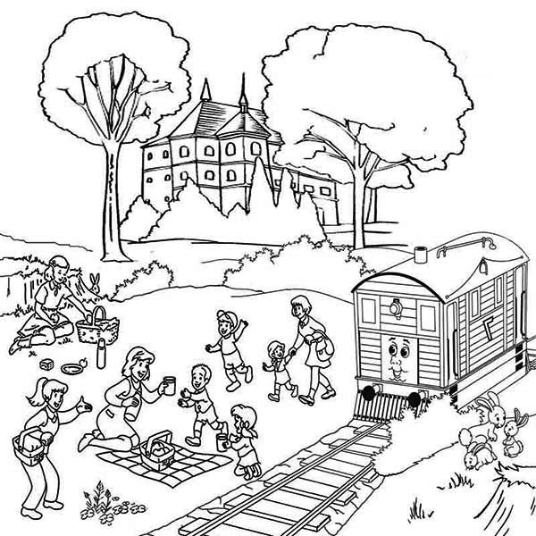 Railroad, : Family Vacation Beside Railroad Coloring Page