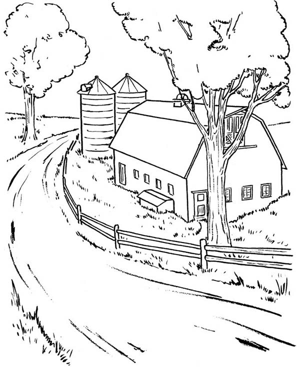 Barn, : Farming Barn Coloring Page