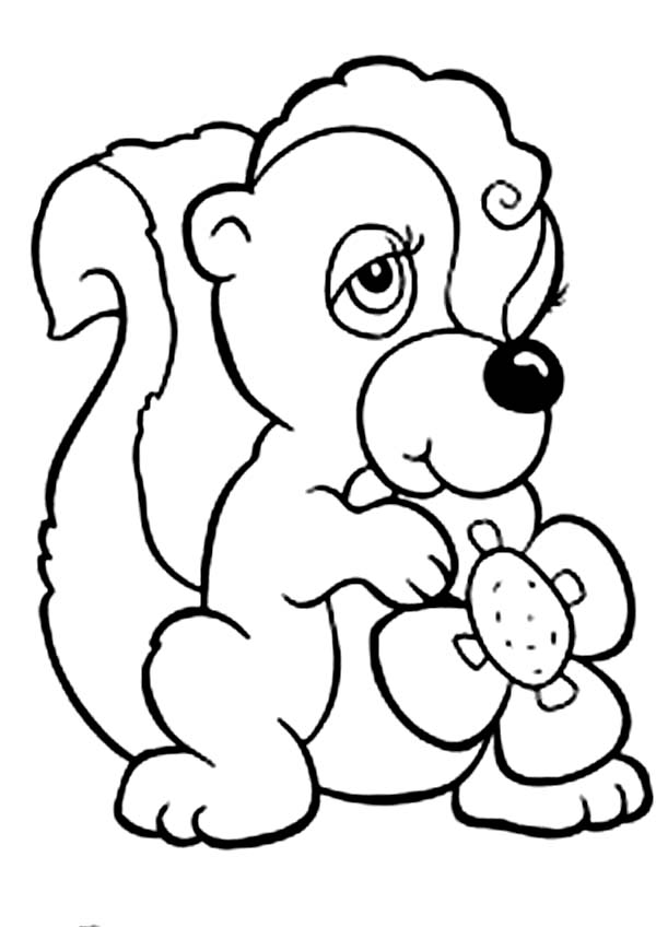 Skunk, : Female Skunk Coloring Page