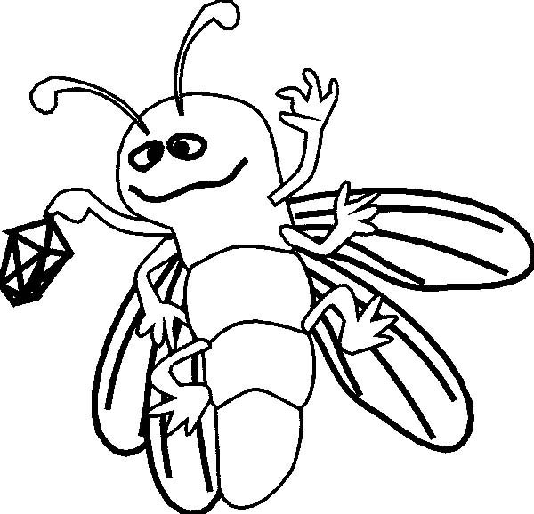 Firefly, : Firefly Holding a Lantern Coloring Page