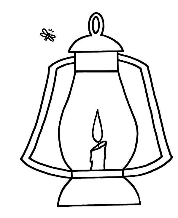 Firefly, : Firefly and Lantern Coloring Page