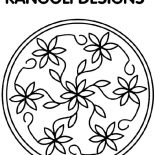 Rangoli, Flower Petals Design Rangoli Coloring Page: Flower Petals Design Rangoli Coloring Page