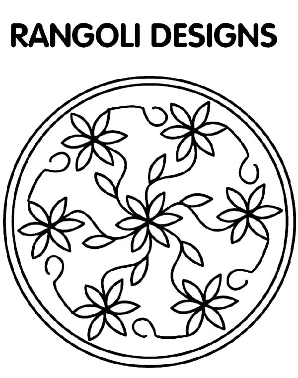 Rangoli, : Flower Petals Design Rangoli Coloring Page