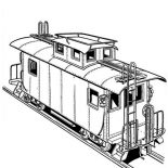 Railroad, Freight Train On Railroad Coloring Page: Freight Train on Railroad Coloring Page