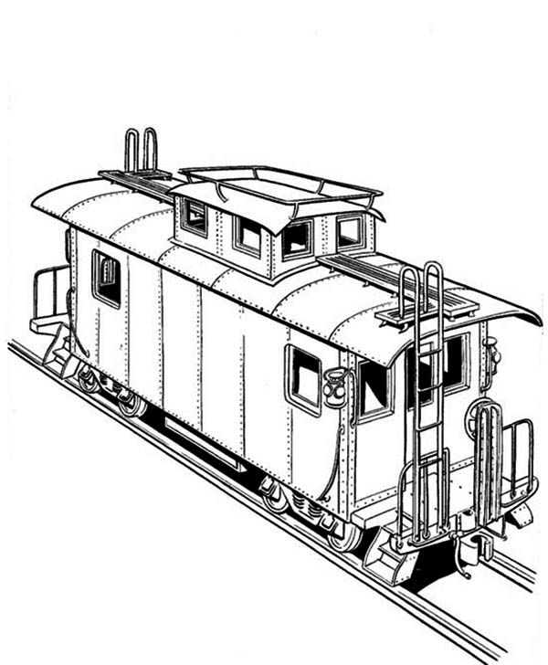 Freight Train on Railroad Coloring Page | Color Luna