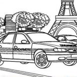 Police Car, French Police Car Coloring Page: French Police Car Coloring Page