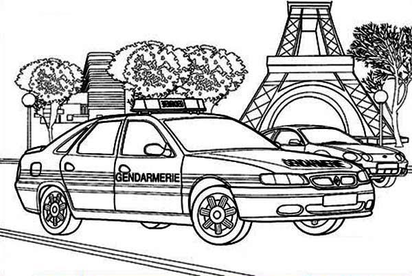 Police Car, : French Police Car Coloring Page
