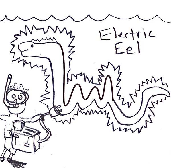 Eel, : Funny Picture of Electric Eel Coloring Page