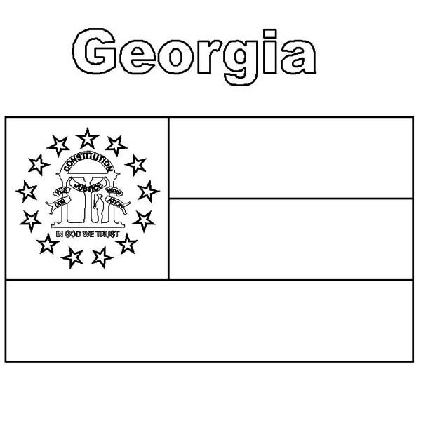 State Flag, : Georgia State Flag Coloring Page
