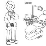 Dental Health, Going To Dentist For Dental Health Coloring Page: Going to Dentist for Dental Health Coloring Page