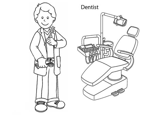 Dental Health, : Going to Dentist for Dental Health Coloring Page