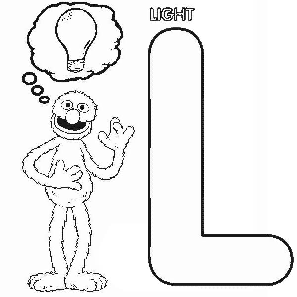 Sesame Street, : Grover Thinking About Bulb Light in Sesame Street Coloring Page