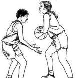 NBA, Guarding NBA Player Coloring Page: Guarding NBA Player Coloring Page