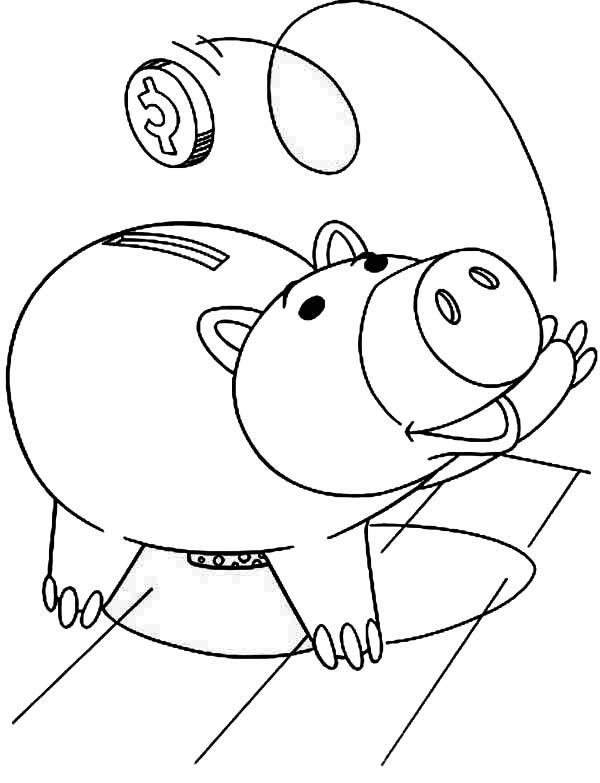 Piggy Bank, : Hamm the Piggy Bank from Toy Story Coloring Page