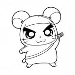 Guinea Pig, Hamtaro In Guinea Pig Coloring Page: Hamtaro in Guinea Pig Coloring Page