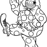 Clown, Happy Clown Walking With Little Umbrella Coloring Page: Happy Clown Walking with Little Umbrella Coloring Page